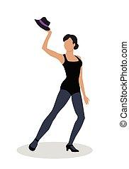 Jazz Dancer in Black Tights Launches with Hat - Jazz dancer...
