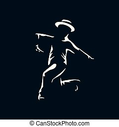Jazz dancer in the dark with light on his silhouette.