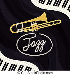 jazz day poster with piano keyboard and trumpet