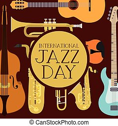 jazz day poster with set instruments