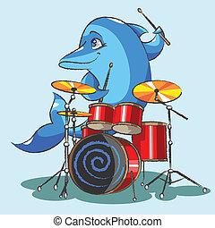 jazz, delfín, tambor