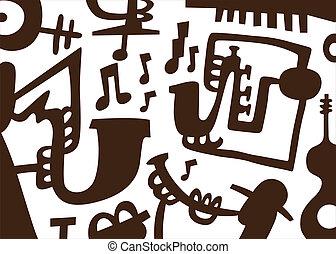 jazz, -doodles, musiker