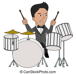 Jazz drummer cartoon - Drums player illustration isolated on...