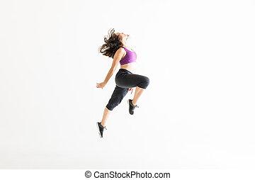 jazz, energisch, tanz, verrichtung, frau, seitenansicht