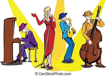 Jazz ensemble - A vector illustration of a jazz ensemble...