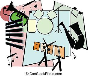 jazz ensemble - ensemble of jazz instruments in retro style