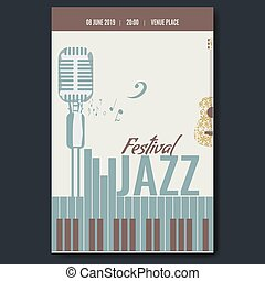 Jazz festival concert poster template design with vintage retro mike silhouette and piano keyboard and flower guitar. Vector illustration.
