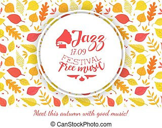 Jazz Festival Free Music Banner Template with Autumn Leaves, Music Show Promotion Advertisement Vector Illustration