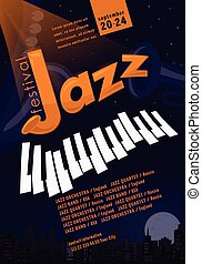 Jazz festival poster template. Banner for misical party. Saxophone, trumpet, Piano keyboard, Night city. Vector illustration with sample text