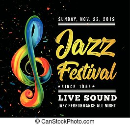 Jazz festival poster template with a treble clef and text on a black background