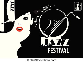 Jazz festival. Retro a poster with the stylish girl.