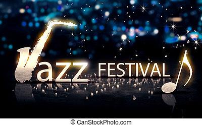 Jazz Festival Saxophone Silver City Bokeh Star Shine Blue Background 3D