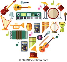 Jazz festival vector poster with music instruments in heart shape design