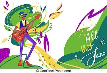 jazz, fond, musicien, festival, solo, homme, guitare, dessin animé, club, illustration, guitariste, vecteur, plat, jouer, caractère, musique, âme