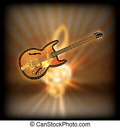 jazz guitar on a blurred background treble clef