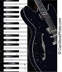 Jazz Instrument Background - Black and white piano keys and ...