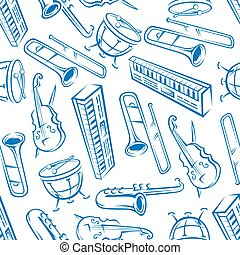 jazz, instrumentos musicais, seamless, padrão