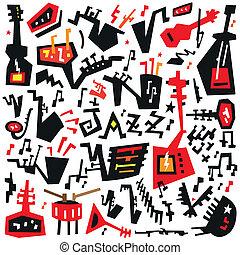 jazz instruments - doodles set - jazz instruments - vector...