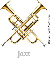 Jazz logo icon. Two crossed tubes against a white...
