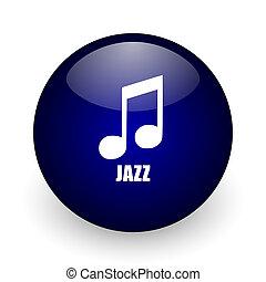 Jazz music blue glossy ball web icon on white background. Round 3d render button.