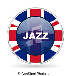 jazz music british design icon - round silver metallic border button with Great Britain flag