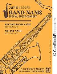 jazz music concert saxophone horizontal music flyer template