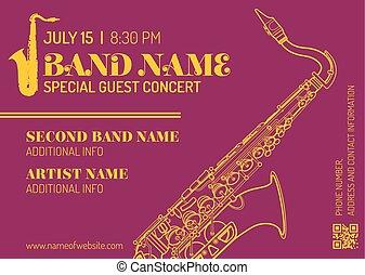 jazz music concert saxophone vertical music flyer template