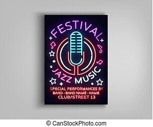 Jazz Music Festival Design Template Typography in Neon Style. Neon Sign, Bright Advertising, Flyer Invitation to the Party, Festival, Jazz Music Concert. Vector illustration