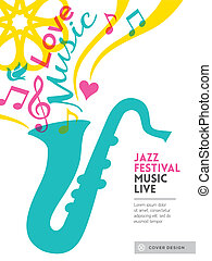 Jazz music festival graphic design background template...