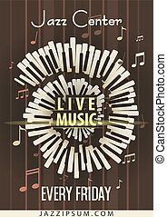 Jazz Live music festival, poster background template. Keyboard with music notes. Flyer design. Vector Illustration.