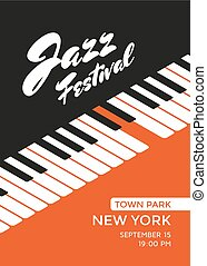 Jazz music festival poster design template. Piano keys. Vector illustration placard for jazz concert.