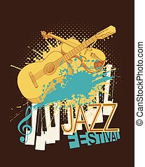 Jazz music festival poster with violin, piano keys and guitar sketches on halftone background with paint blots. vector