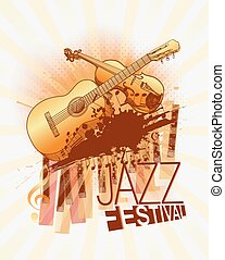 Jazz music festival with violin and guitar background template