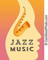 Jazz music flat vector banner template