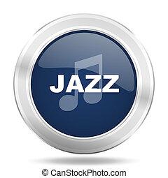 jazz music icon, dark blue round metallic internet button, web and mobile app illustration
