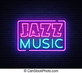 Jazz Music neon sign vector. Jazz Music design template neon sign, light banner, neon signboard, nightly bright advertising. Vector illustration