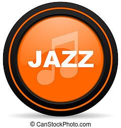 jazz music orange glossy web icon on white background