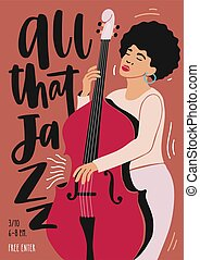 Jazz music performance, concert or festival advertisement poster or flyer template with African American female musician playing double bass. Flat vector illustration in contemporary art style.
