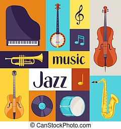Jazz music retro poster with musical instruments