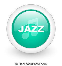 jazz music round glossy web icon on white background