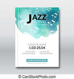 Jazz music vector poster templates set. Hand drawn Watercolor stain background. Abstract background for card, brochure, banner, web design, poster background template.