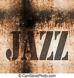 jazz music word, old rusty wall