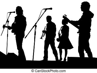 Jazz musical group - Concert of jazz music on white...