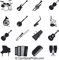 Jazz musical instrument silhouettes