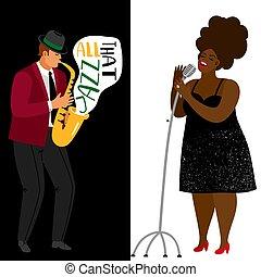 Jazz musician and afroamerican singer vector banners template