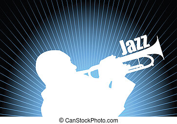 Jazz musician on the abstract background - vector