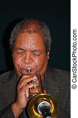 Jazz musician. - Jazz musician performing in a dark ...