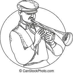 Jazz Musician Playing Trumpet Doodle Art