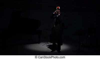 Jazz musician plays the trumpet in a group