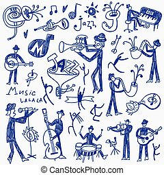jazz musicians doodles set - jazz musicians set icons in ...